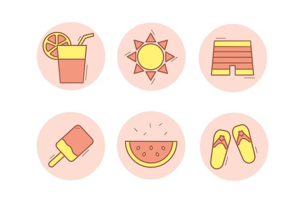 Conjunto de ícones de praia de verão em fundo branco