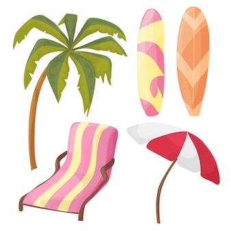 Conjunto de ícones de praia - equipamento de desenho animado - espreguiçadeira, palmeira, tabuleiro, guarda-chuva - vetor