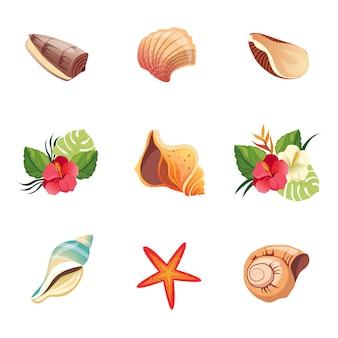 Conjunto de ícones de praia realista