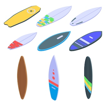Conjunto de ícones de prancha de surf, estilo isométrico