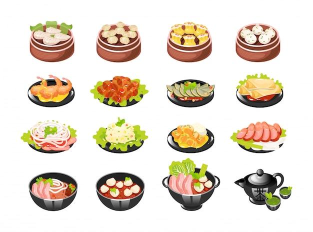 Conjunto de ícones de pratos chineses.