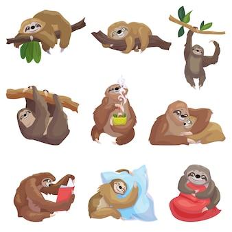 Conjunto de ícones de preguiça. conjunto de desenhos animados de ícones de preguiça