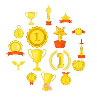 Conjunto de ícones de prêmio de troféu, em estilo cartoon