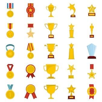 Conjunto de ícones de prêmio medalha isolado