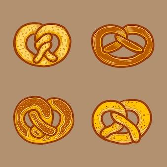 Conjunto de ícones de pretzel alemão