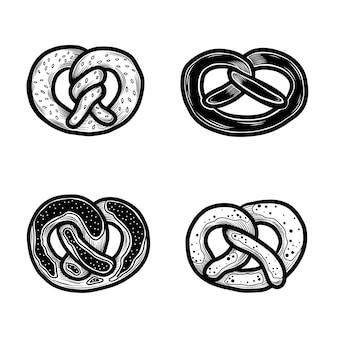 Conjunto de ícones de pretzel