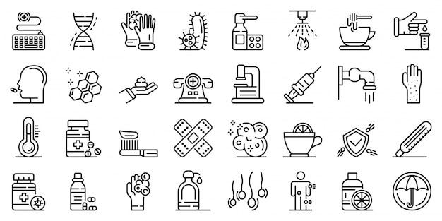 Conjunto de ícones de prevenção, estilo de estrutura de tópicos