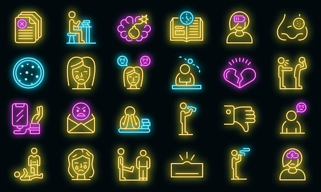 Conjunto de ícones de problemas adolescentes. conjunto de contorno de ícones de vetor de ícones de problemas de adolescentes cor de néon no preto