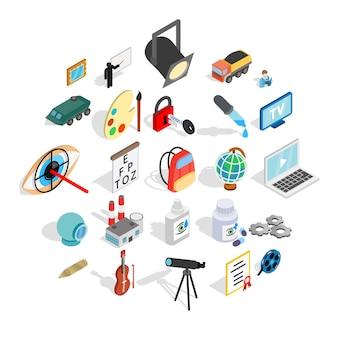 Conjunto de ícones de procedimentos, estilo isométrico
