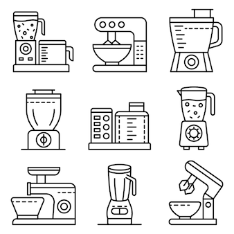 Conjunto de ícones de processador de alimentos. conjunto de contorno dos ícones de vetor de processador de alimentos