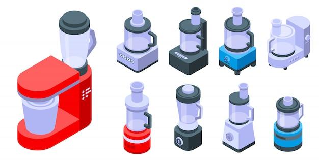 Conjunto de ícones de processador de alimentos, estilo isométrico