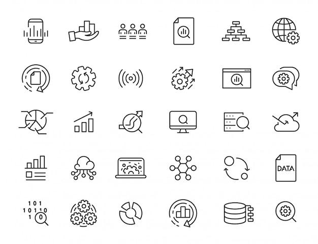 Conjunto de ícones de processamento de dados lineares. ícones de análise em design simples. ilustração vetorial