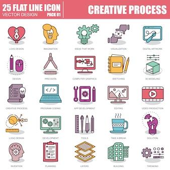 Conjunto de ícones de processo criativo