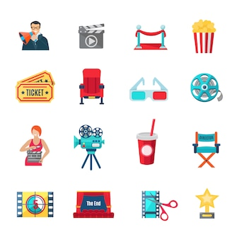 Conjunto de ícones de produção cinematográfica e