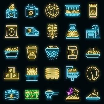 Conjunto de ícones de produção de café. conjunto de contorno de ícones de vetor de produção de café, cor neon no preto
