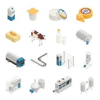 Conjunto de ícones de produção de leite
