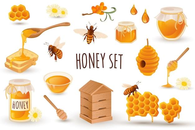 Conjunto de ícones de produção de mel em design 3d realista pacote de brinde de apiário em favo de mel de abelhas
