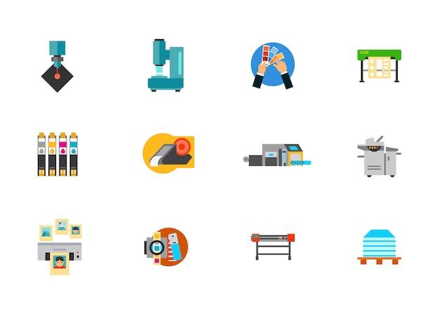 Conjunto de ícones de produção de mídia de impressão