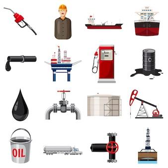 Conjunto de ícones de produção de petróleo, estilo cartoon
