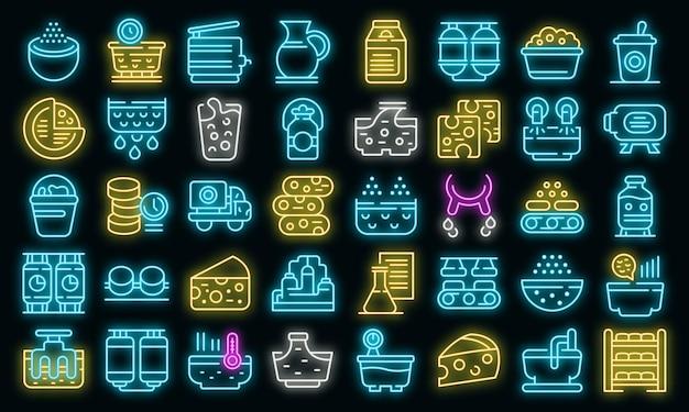 Conjunto de ícones de produção de queijo. conjunto de contorno de ícones de vetor de produção de queijo cor de néon no preto