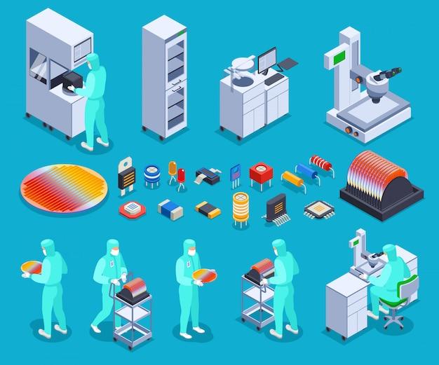 Conjunto de ícones de produção de semicondutores com tecnologia e ciência símbolos isométricos isolados