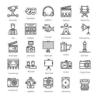 Conjunto de ícones de produção de vídeo