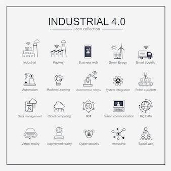 Conjunto de ícones de produções industriais inteligentes de indústria 4.0.