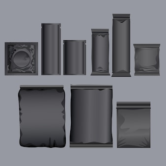 Conjunto de ícones de produtos de embalagem preta