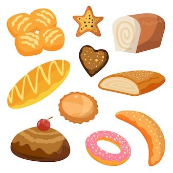 Conjunto de ícones de produtos de padaria e pastelaria