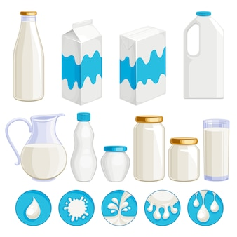 Conjunto de ícones de produtos lácteos leite
