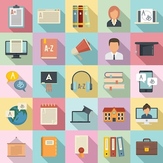 Conjunto de ícones de professores de língua estrangeira.