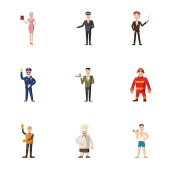 Conjunto de ícones de profissão, estilo cartoon