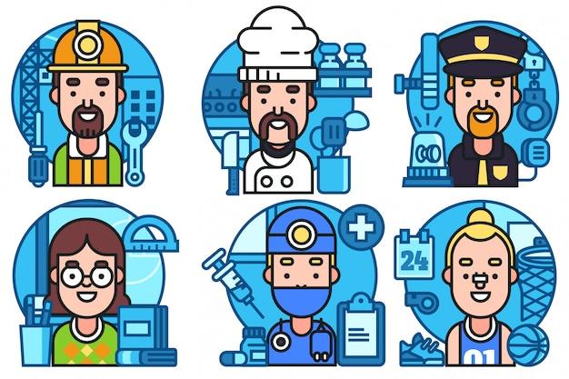 Conjunto de ícones de profissões coloridas