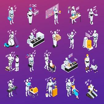 Conjunto de ícones de profissões de robô isolado e isométrico polícia e babá de chef assistente de casa