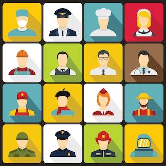 Conjunto de ícones de profissões em estilo simples.