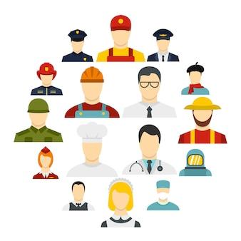 Conjunto de ícones de profissões em estilo simples