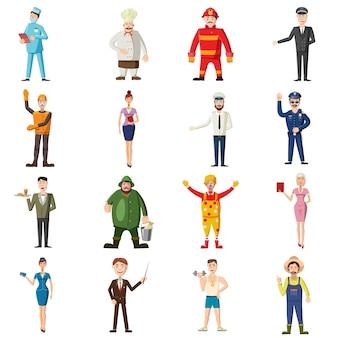 Conjunto de ícones de profissões, estilo cartoon