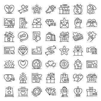Conjunto de ícones de programa de lealdade, estilo de estrutura de tópicos