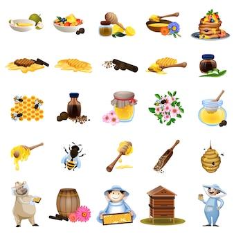 Conjunto de ícones de própolis. conjunto de desenhos animados de ícones de própolis