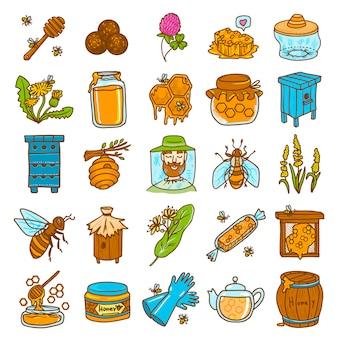 Conjunto de ícones de própolis. conjunto de mão desenhada de vetor de própolis