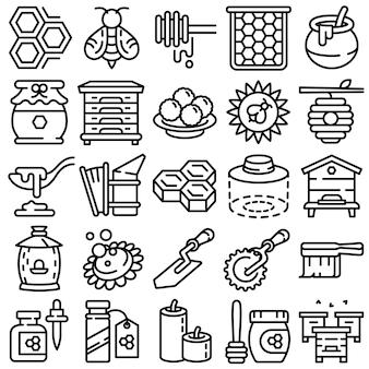 Conjunto de ícones de própolis, estilo de estrutura de tópicos