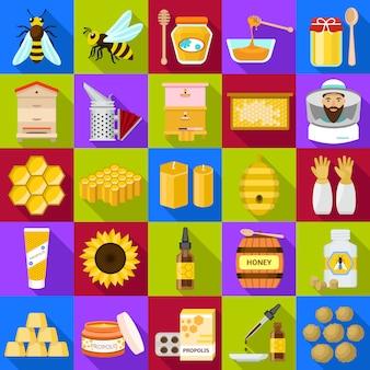 Conjunto de ícones de própolis.