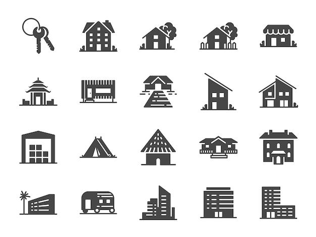 Conjunto de ícones de propriedade.