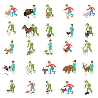 Conjunto de ícones de proteção animal