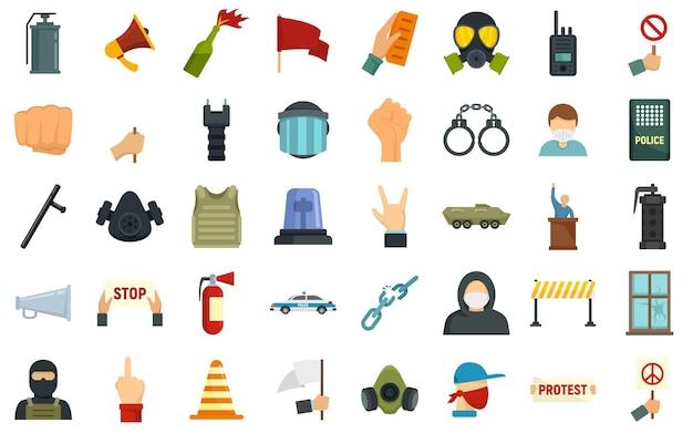Conjunto de ícones de protesto. conjunto plano de ícones do vetor de protesto isolado no fundo branco