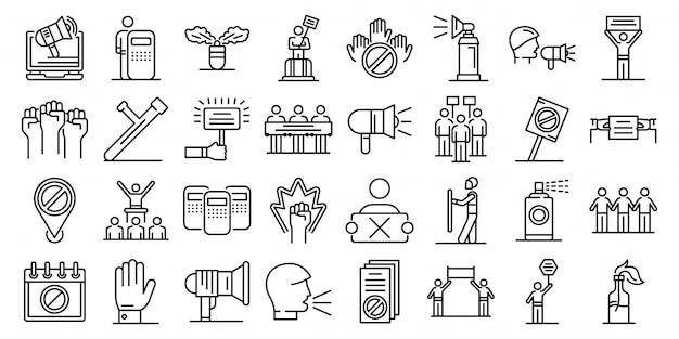 Conjunto de ícones de protesto, estilo de estrutura de tópicos