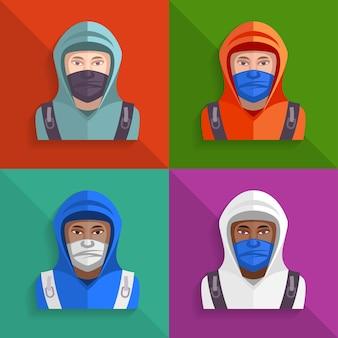 Conjunto de ícones de protestos.