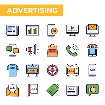 Conjunto de ícones de publicidade, estilo de cor preenchida