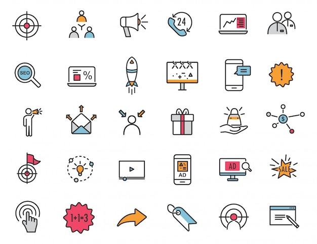 Conjunto de ícones de publicidade linear ícones de marketing