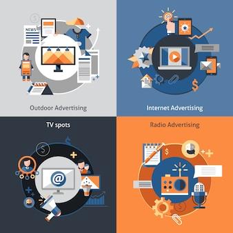 Conjunto de ícones de publicidade